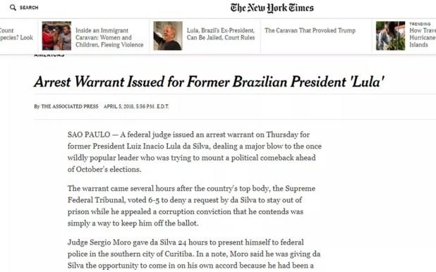 'NY Times' noticiou pedido de prisão de Lula (Foto: Reprodução/NY Times)