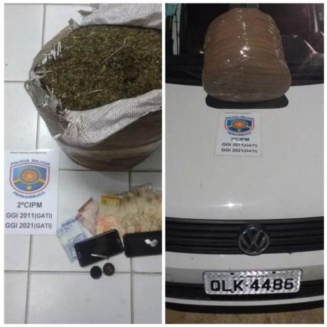 Drogas apreendidas na BR-428  — Foto: Polícia Militar