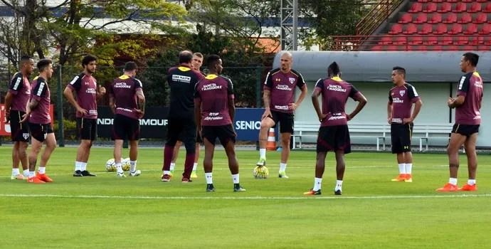 Ricardo Gomes reúne time titular do São Paulo no treino (Foto: Érico Leonan / saopaulofc.net)