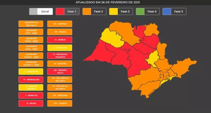 Mapa atualizado da reclassificação do Plano SP — Foto: Reprodução/Governo de SP
