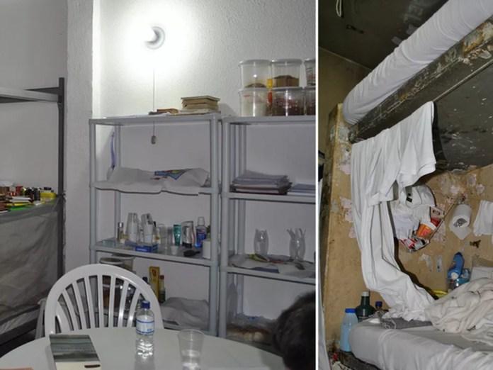Promotores comparam ala reformada onde Luiz Estevão cumpre pena (esquerda) e outro ambiente da mesma unidade — Foto: Ministério Público do DF/Divulgação