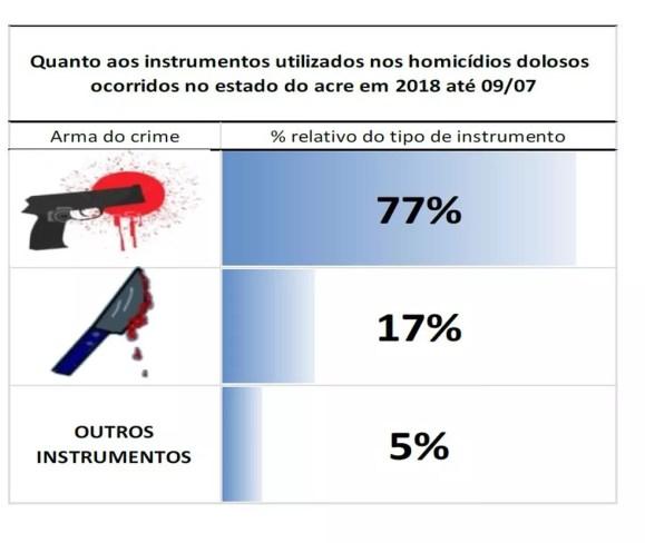 Armas de fogo foram os instrumentos mais usados em homicídios dolosos (Foto: Reprodução/MP-AC)
