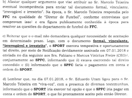 Carta de Sport ao Fluminense (Foto: Reprodução)