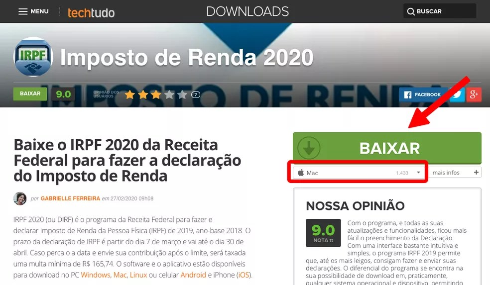 Baixe o software de declaração de Imposto de Renda 2020 — Foto: Reprodução/TechTudo