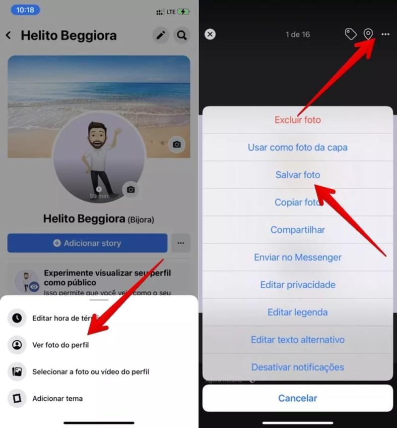 É possível salvar o avatar do Facebook e utilizá-lo no WhatsApp como foto de perfil — Foto: Reprodução/Helito Beggiora