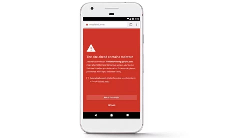 Alerta do Google Play Protect sobre site malicioso  (Foto: Divulgação/Google)