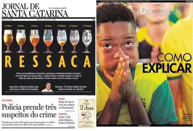 Capas Diário Catarinense e Jornal de Santa Catarina  (Foto: Reprodução)