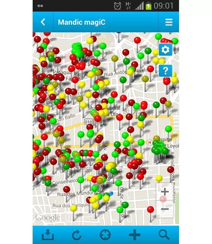 Tela principal do aplicativo mostra mapa com todos os pontos de acesso Wi-Fi disponíveis (Foto: Reprodução/Paulo Alves)
