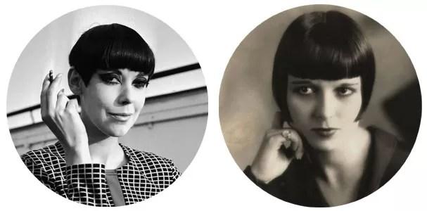 """Peggy Moffitt: """"Cabelo e franja são uma coisa só no corte geométrico by Vidal Sassoon. Difícil de usar."""" Louise Brooks: """"O corte 20's vira-e-mexe é retomado, mas funciona para poucas. Pescoço longo e rosto  pequeno são requisitos."""" (Foto: Getty Images)"""