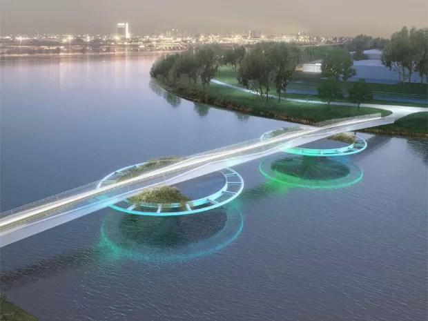 Reprodução artística de como ficará a ponte móvel (Foto: Divulgação/Bayer)