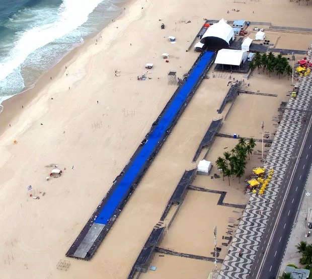 pista de atletismo Bolt contra o tempo Copacabana (Foto: Genílson Araújo / Agência O Globo)
