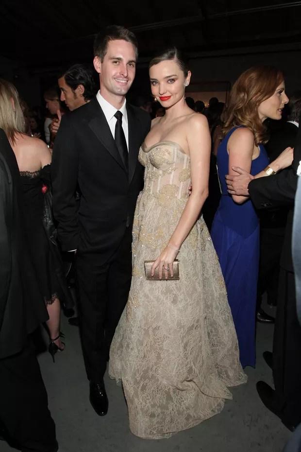 O fundador do Snapchat Evan Spiegel e a modelo Miranda Kerr (Foto: Getty Image)