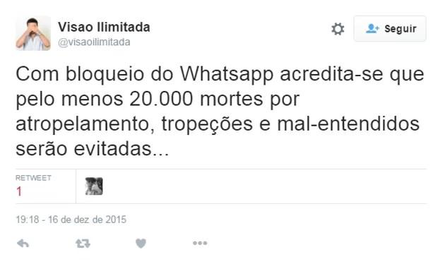 Usuário do Twitter brinca que com possibilidade de WhatsApp sair do ar