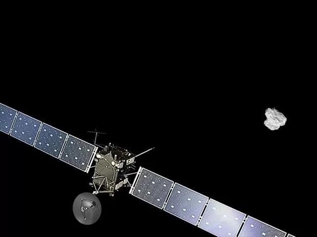 Ilustração da Sonda Rosetta se aproximando do cometa 67P/Churyumov-Gerasimenko (Foto: Spacecraft: ESA/ATG medialab; Comet image: ESA/Rosetta/NavCam – CC BY-SA IGO 3.0)