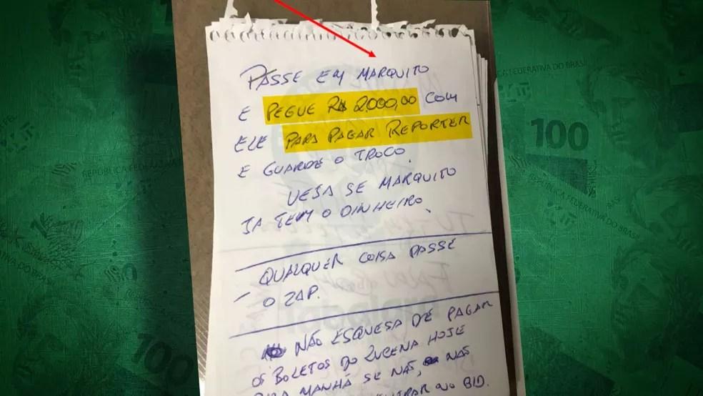 Bilhete apreendido pela Polícia mostra anotação do presidente da Federação Paraibana pedindo pagamento de suborno a jornalista — Foto: Reprodução