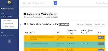 Cadastro de vacinação está em fase de testes em Porto Velho  — Foto: Reprodução