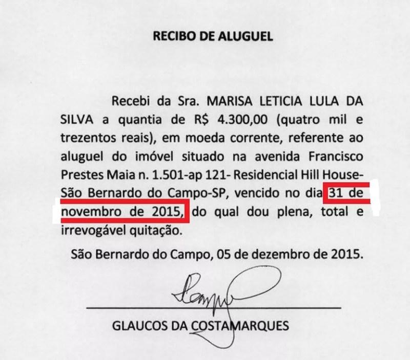Recibo anexado pela defesa do ex-presidente Lula cita 31 de novembro de 2015  (Foto: Reprodução)