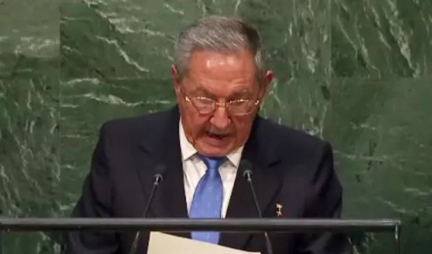 O presidente de Cuba Raul Castro fala na assembleia geral da ONU (Foto: Reprodução/ONU)