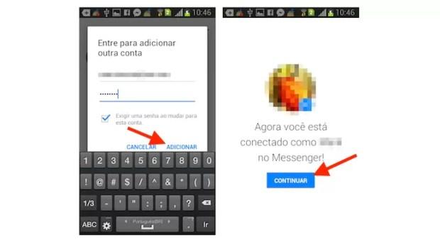Entrando com uma segunda conta no aplicativo do Facebook Messenger para Android (Foto: Reprodução/Marvin Costa)