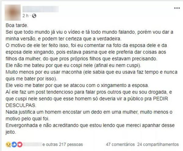 Postagem da filha sobre o caso de agressão (Foto: Reprodução/Facebook)