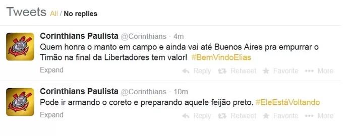 Corinthians anuncia volta de Elias pelo Twitter (Foto: Reprodução/Twitter)