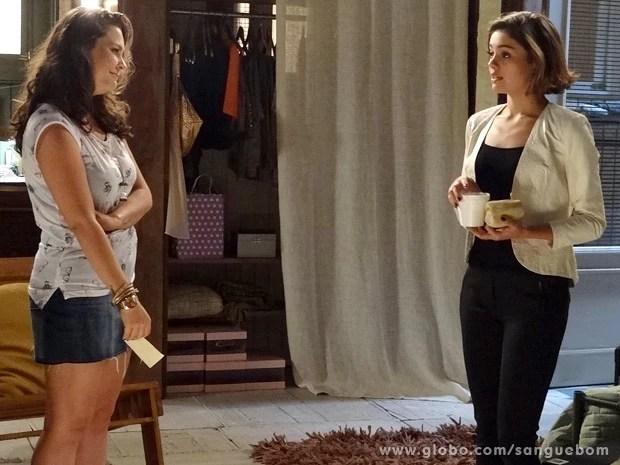 Amora assume que não aguenta mais a vida de dona de casa (Foto: Sangue Bom / TV Globo)