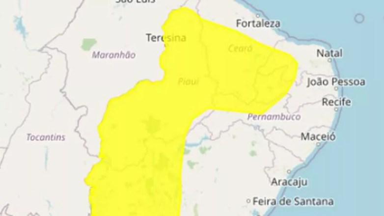 Inmet emite alerta de baixa umidade para 85 cidades da Paraíba — Foto: Inmet/Reprodução