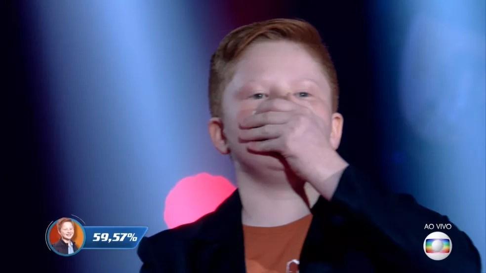 Gustavo Bardim segue na disputa do 'The Voice Kids'! — Foto: Reprodução/Globoplay