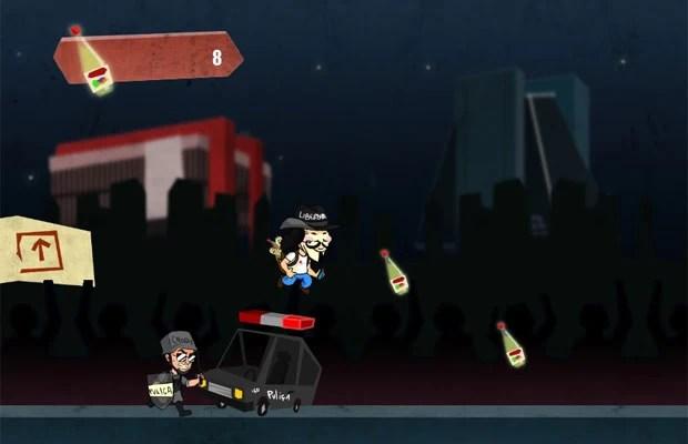 No game 'V de Vinagre', usuário deve fugir da polícia e pegar potes de vinagre (Foto: Reprodução)