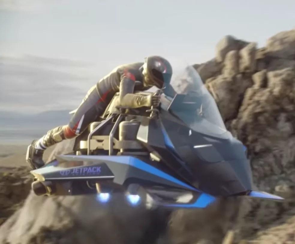 Em ilustração, como deve  ficar moto voadora da Jetpack depois de pronta — Foto: Reprodução/Youtube