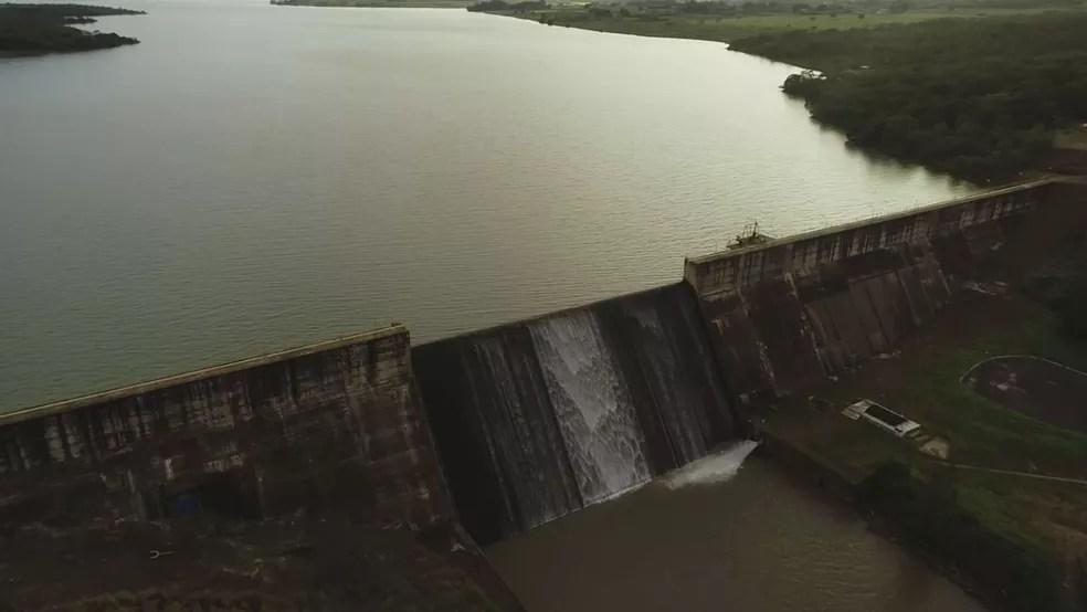 Reservatório do Descoberto atingiu a capacidade máxima de armazenamento de água  — Foto: TV Globo/Reprodução