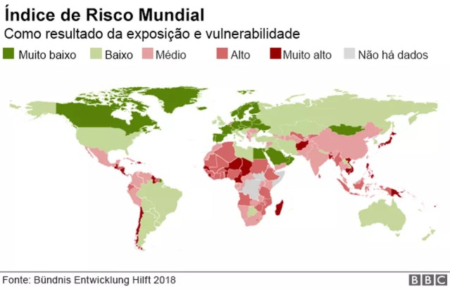 Mapa mostra índice de risco de desastres naturais por região — Foto: BBC