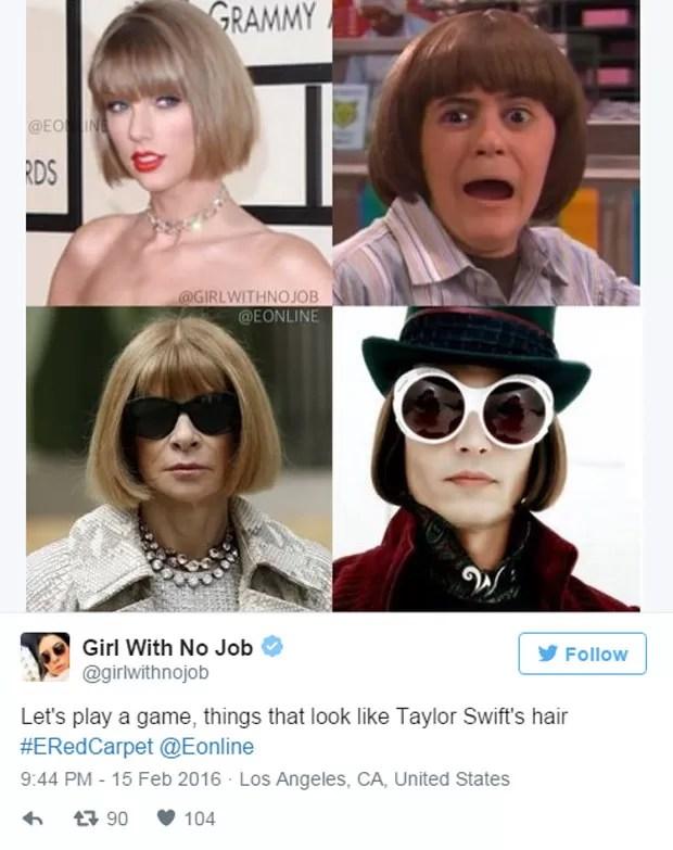 Usuário pergunta quem usou melhor o corte de cabelo de Taylor Swift no Grammy (Foto: Reprodução/Twitter/@girlwithnojob)