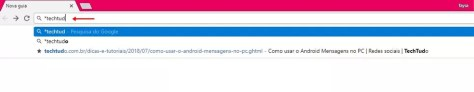 Encontrando favoritos pela barra de endereços do Chrome (Foto: Reprodução/ Taysa Coelho)