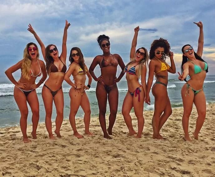 Bailarinas do Faustão mostram beleza em praia do Rio de Janeiro (Foto: Arquivo Pessoal)