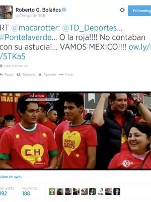 Incentivo ao México divulgado no Twitter por Roberto Gomez Bolaños, criador de 'Chaves' e 'Chapolin' (Foto: Reprodução / Twitter)