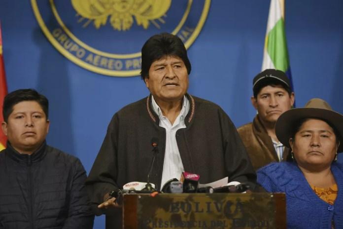 Evo Morales renunciou à presidência da Bolívia no domingo (10). — Foto: Enzo De Luca/Agencia Boliviana de Informacion via A
