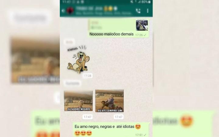 Polícia Civil teve acesso a imagem publicada em um aplicativo de mensagens com teor racista em Morrinhos — Foto: Polícia Civil/Divulgação