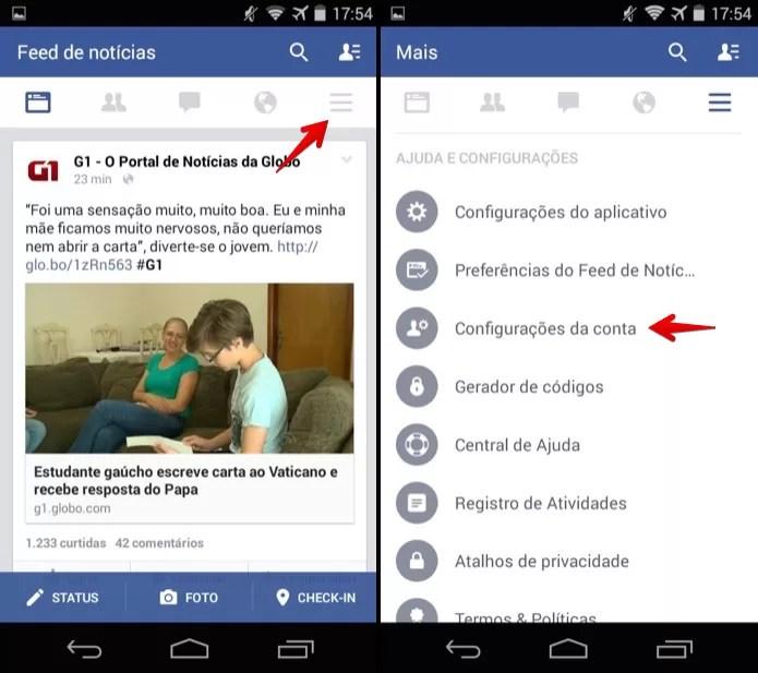 Acesse as configurações do Facebook para Android (Foto: Reprodução/Helito Bijora)