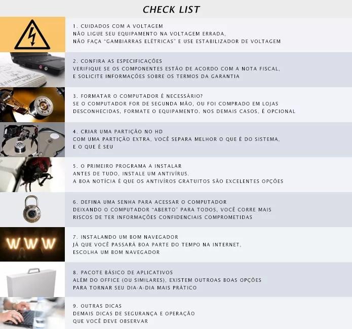 Checklist com dicas e orientações para quem comprou um computador recentemente (Foto: Reprodução/Adriano Hamaguchi) (Foto: Checklist com dicas e orientações para quem comprou um computador recentemente (Foto: Reprodução/Adriano Hamaguchi))