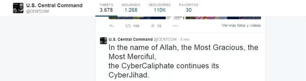 Reprodução de mensagem deixada por hackers no Twitter do Comando Central dos Estados Unidos, invadido nesta segunda-feira (Foto: Reprodução/Twitter/U.S. Central Command)