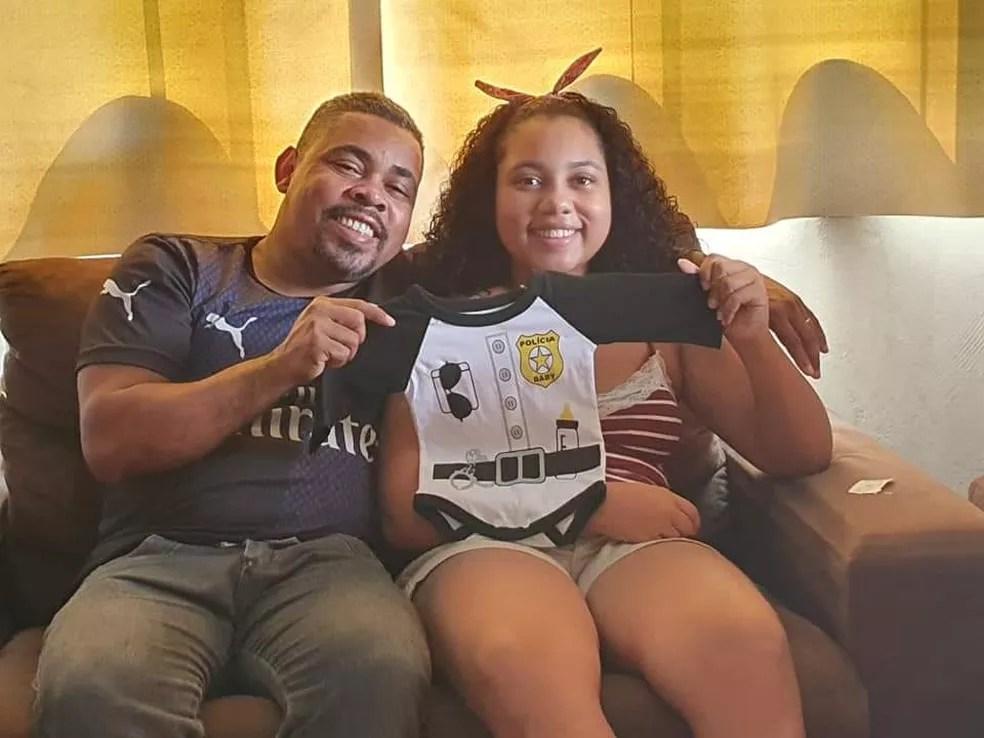 Policial penal era pai de uma adolescente de 13 anos e esperava a chegada da segunda filha, batizada de Estela  — Foto: Arquivo da família