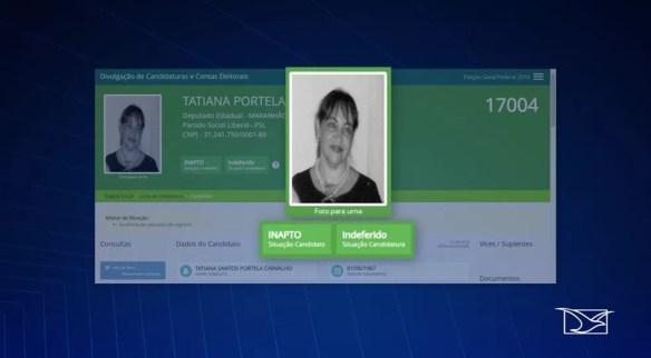 Tatiana Portela é esposa de Chico Carvalho e também é suspeita de ser usada como laranja pelo PSL nas eleições 2018 — Foto: Reprodução/TV Mirante