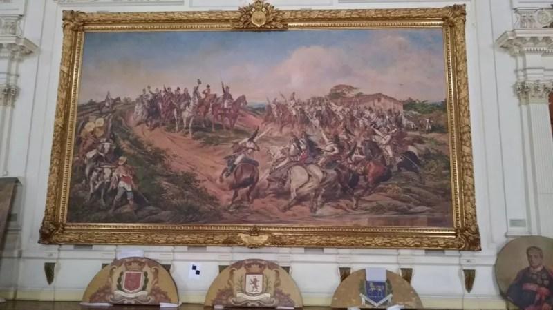 """A famosa tela """"O Grito do Ipiranga"""", pintada por Pedro Américo, é uma das poucas obras que permanecerão no museu durante reforma  (Foto: Marina Pinhoni/G1 )"""