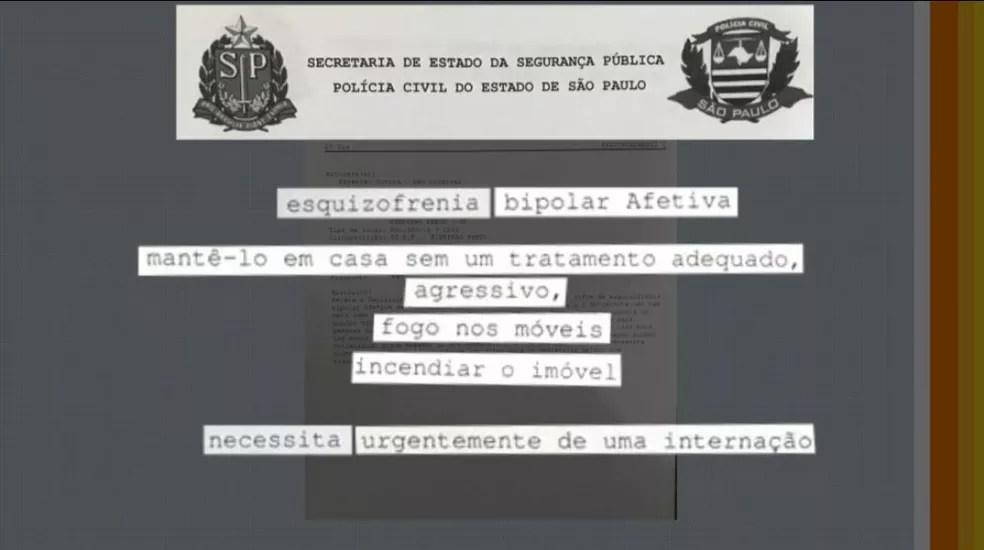 Mãe abriu boletim de ocorrência para tentar conseguir vaga para internar filho com doença mental, em Ribeirão Preto (SP). — Foto: Reprodução/EPTV