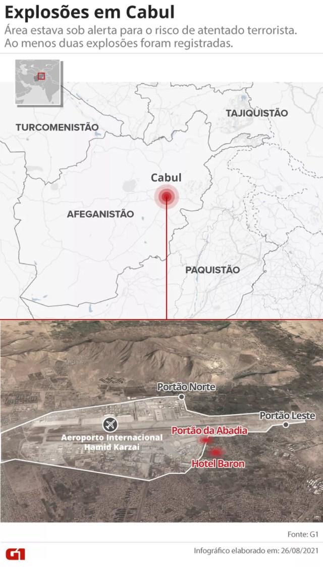 Mapa identifica área das explosões próximas ao aeroporto de Cabul em 26 de agosto de 2021 — Foto: Arte G1