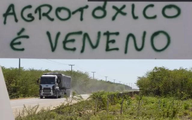 Faixa contra agrotóxicos foi colocada em Limoeiro do Norte, no Ceará  (Foto: Reuters/Davi Pinheiro)