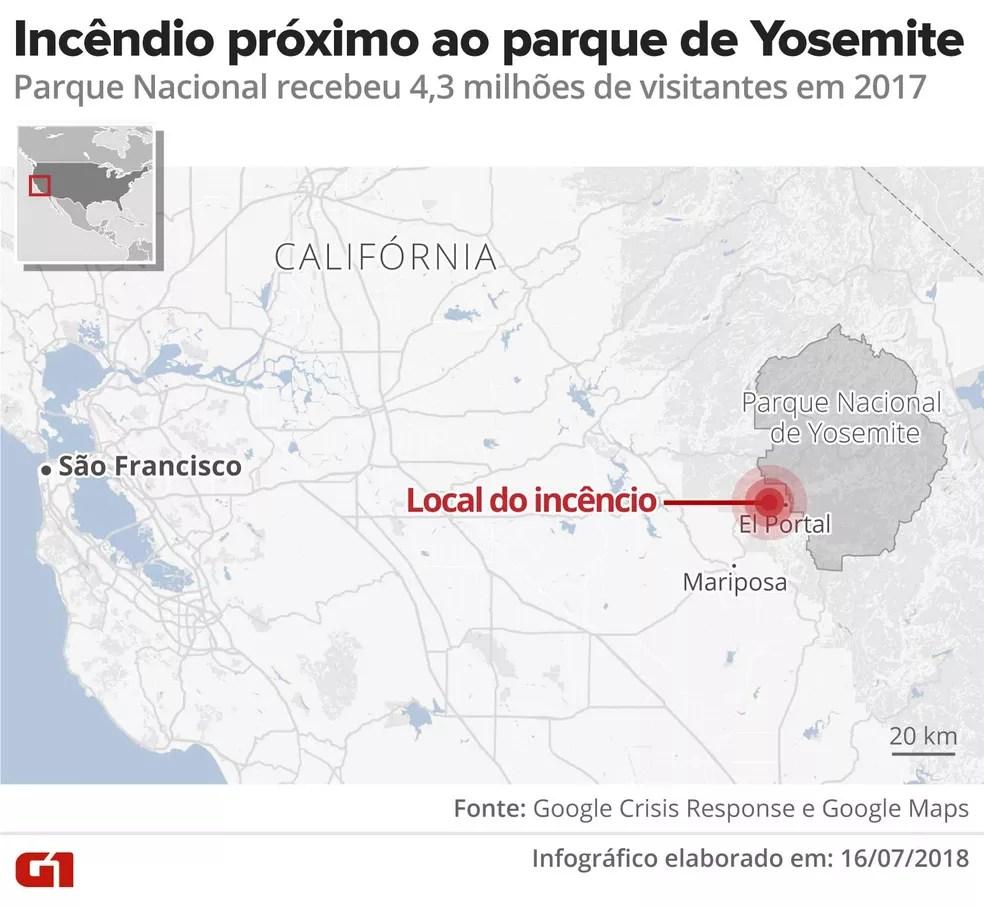Fogo atingiu região a oeste do parque Yosemite, na Califórnia (Foto: Alexandre Mauro/G1)
