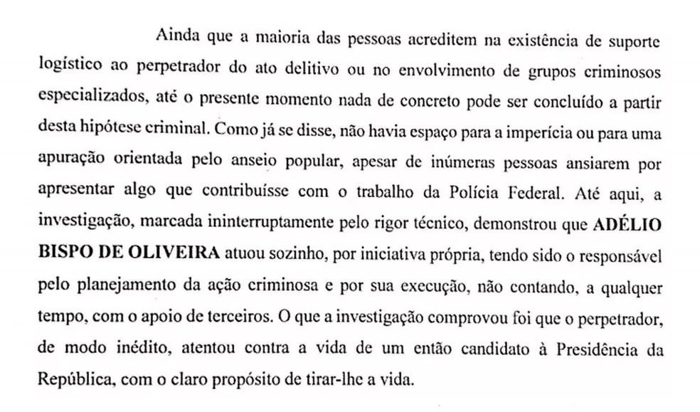Trecho da conclusão do segundo inquérito da PF sobre o atentado a Bolsonaro. — Foto: Reprodução