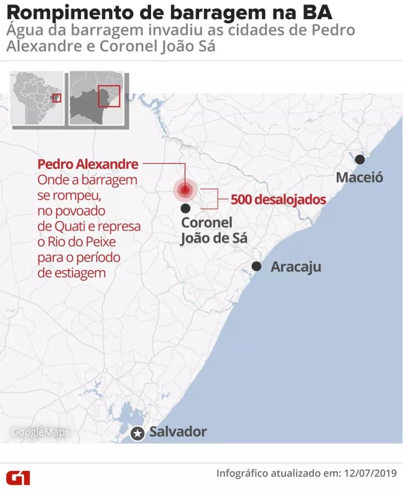 Barragem em cidade na Bahia se rompeu e deixou 500 desalojados — Foto: Arte/G1
